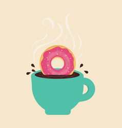 card with coffee and donut vector image