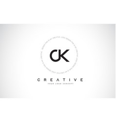 Ck c k logo design with black and white creative vector