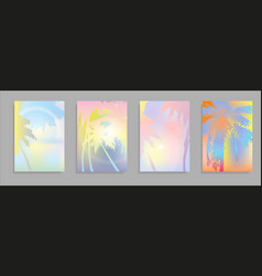 colorful summer banners tropical backgrounds set vector image