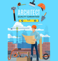 Construction architect house builder man vector