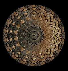 Copper textured 3d greek mandala pattern floral vector