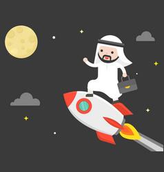 Cute arab business man riding rocket flying in vector