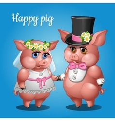Cute couple pigs in suits the bride and groom vector