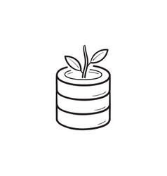 database and growing plant hand drawn outline vector image