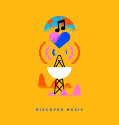 discover new music radar or radio cartoon concept vector image