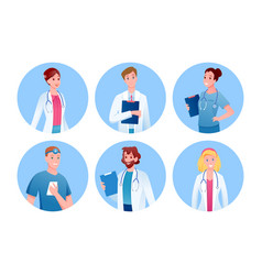 doctor and nurse medicine characters round avatars vector image