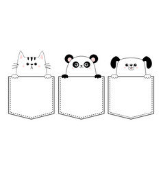 dog cat panda bear set in pocket holding paw vector image