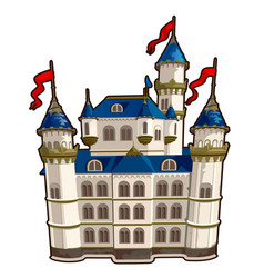 Fairytale castle with blue roof and red flags vector