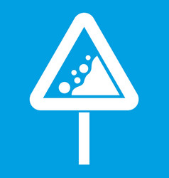 falling rocks warning traffic sign icon white vector image