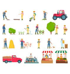 farmer activity collection vector image
