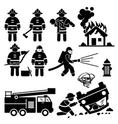 firefighter fireman rescue stick figure pictogram vector image