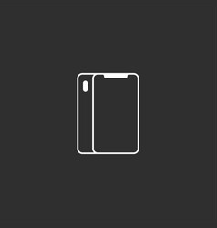 Flat outline style smartphone icon vector
