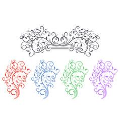 floral decorative ornaments set colored flower vector image