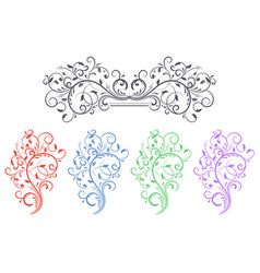 floral decorative ornaments set of colored flower vector image