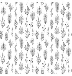 floral pattern with hand drawn leaves branches vector image