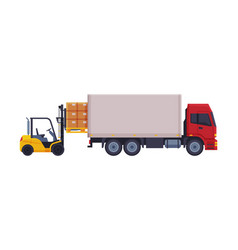 Forklift truck loading cardboard boxes in delivery vector