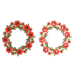 Frame flowers poppy wreath vector