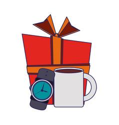 Giftbox with male wristwatch and coffee mug vector