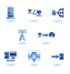 glossy computer network icon set vector image