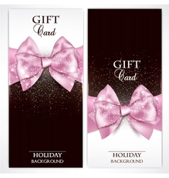 Gorgeous gift cards with pink bows and copy space vector