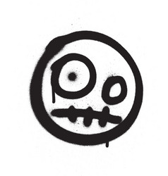 Graffiti scary emoji sprayed in black over white vector