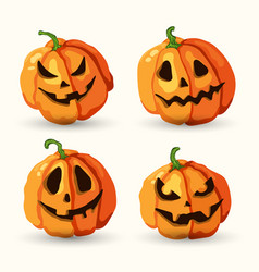Halloween cartoon smiling spooky face pumpkins set vector