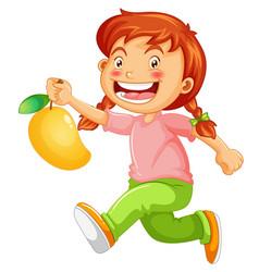 Happy girl cartoon character holding a mango vector