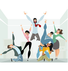 happy people in office vector image