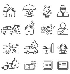 insurance line icon set vector image