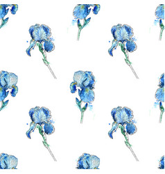 iris flowers seamless pattern vector image