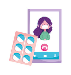 Isolated woman with mask pills and smartphone vector