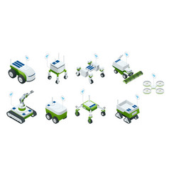isometric set of iot smart industry robot 40 vector image