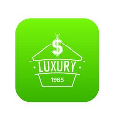 Jewelry luxury icon green vector