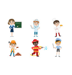 kids different professions set teacher doctor vector image
