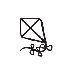 Kite sketch icon vector