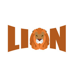 lion logo leo emblem lettering head predator and vector image