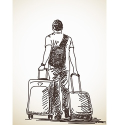 Man with suitcases vector
