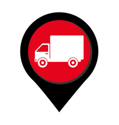 Map pointer with truck with wagon vector
