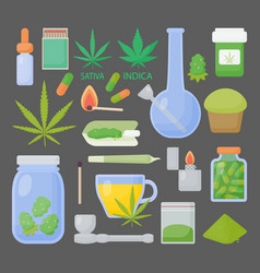 Marijuana or cannabis flat icon set vector