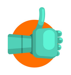 metal android hand showing thumb up part of vector image