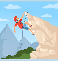 Mountain climber on hills poster with male vector
