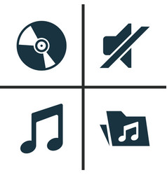 Music icons set collection silence cd vector