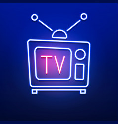 neon retro tv logo with red blue color on smooth vector image