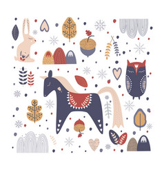 new year and christmas card folk hand drawn style vector image