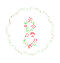 Number eight and a wreath of flowers and vector