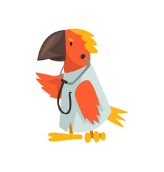 Parrot doctor wearing white lab coat with vector