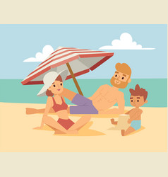 People on beach outdoors summer lifestyle family vector