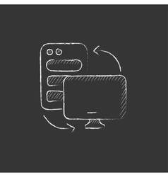 Personal computer set Drawn in chalk icon vector
