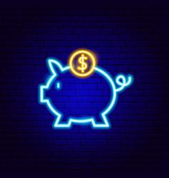 piggy coin neon sign vector image