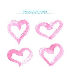Pink watercolor hearts vector